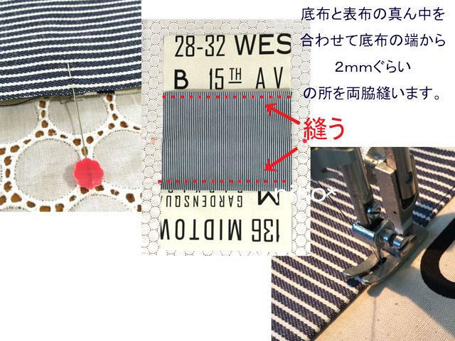 弁当袋3真ん中を合わせ底布を縫う